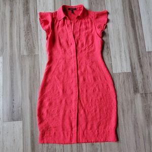 BCBGMaxazria Button Down Linen Midi Dress Salmon
